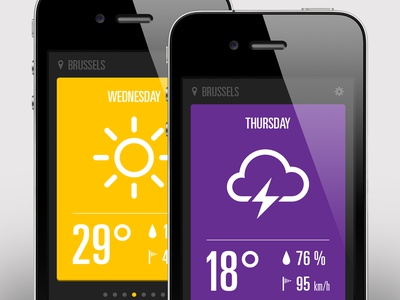 Weather app ui iphone weather thunder sunny app sun cloud ios