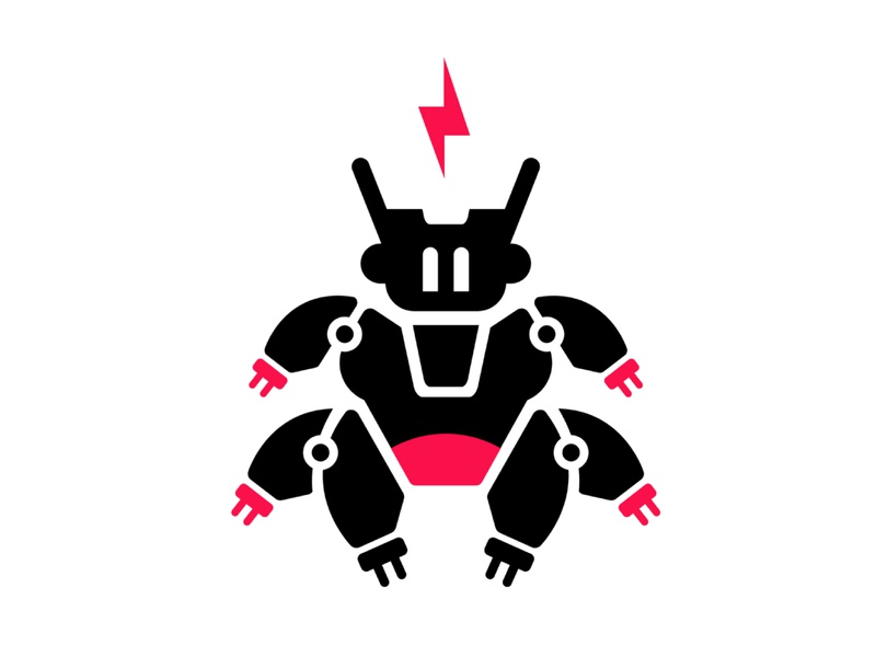 Robo branding entertainment game cyber cute character android future tech minimal pink icon logo electric mech drone robot