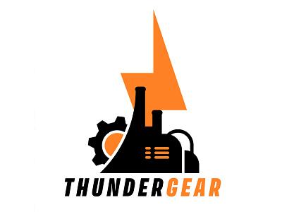 Factory/Tech/Game Logo {For Sale} company storm idea work mechanics thunder entertainment lighting pc strategy gear mech buy tech game branding logo