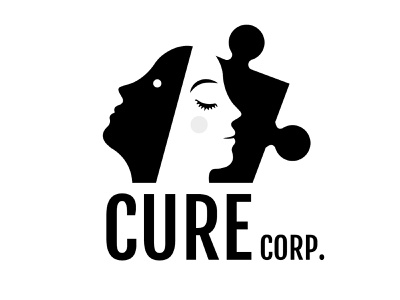 Cure Corp  {Logo For Sale} pill family people twin sleep chill relax relief office corporate cure mind puzzle stress psychology wellness face therapy logo branding