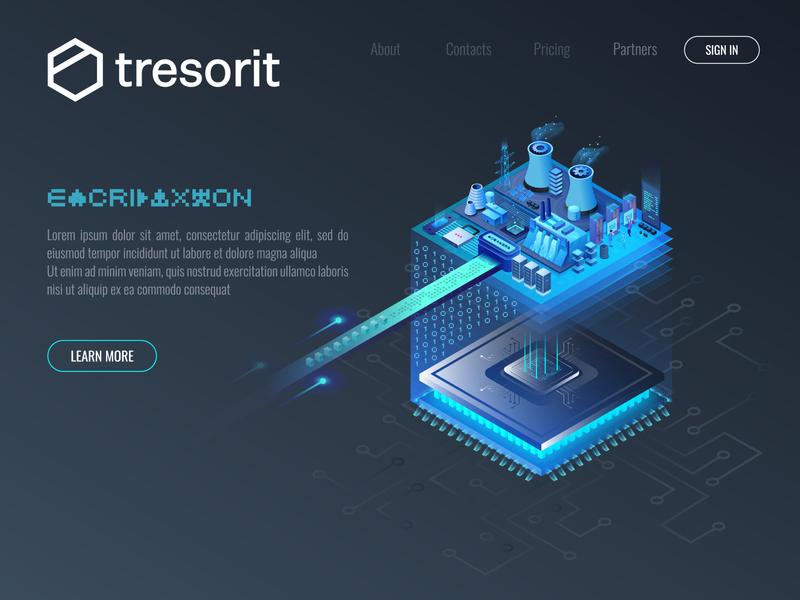 Encryption Factory design computer tresorit landingpage ui chip cpu data encryption factory