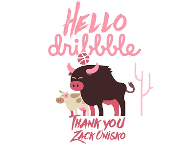 Debut animals nature invite cow bull dribbble thank you shot new hello