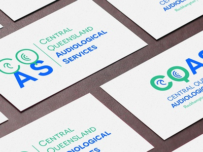 Central Queensland Audiological Services blue business card australia audiology ear ci branding logo