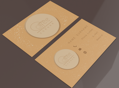 Business Card Design Coffee Corner business card designs designer mockup graphic design branding adobe illustrator adobe logo design