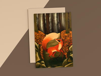 Red Fox Illustration Mockup fall colors colorful fall forest graphic design color artist art illustration art illustrator illustration designs designer mockup design