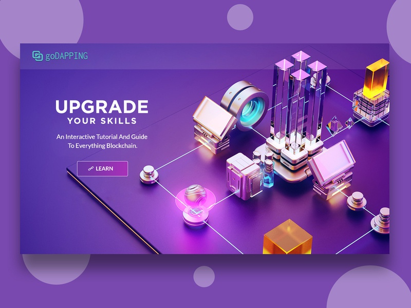 An Interactive Tutorial And Guide To Everything Blockchain. flat layouts purple website purple blue website online tutorial blockchain