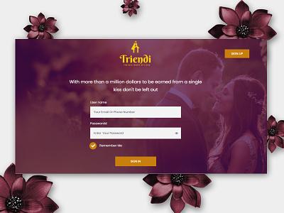 Online Dating webiste brown design flat design login page login design flat layouts login screen