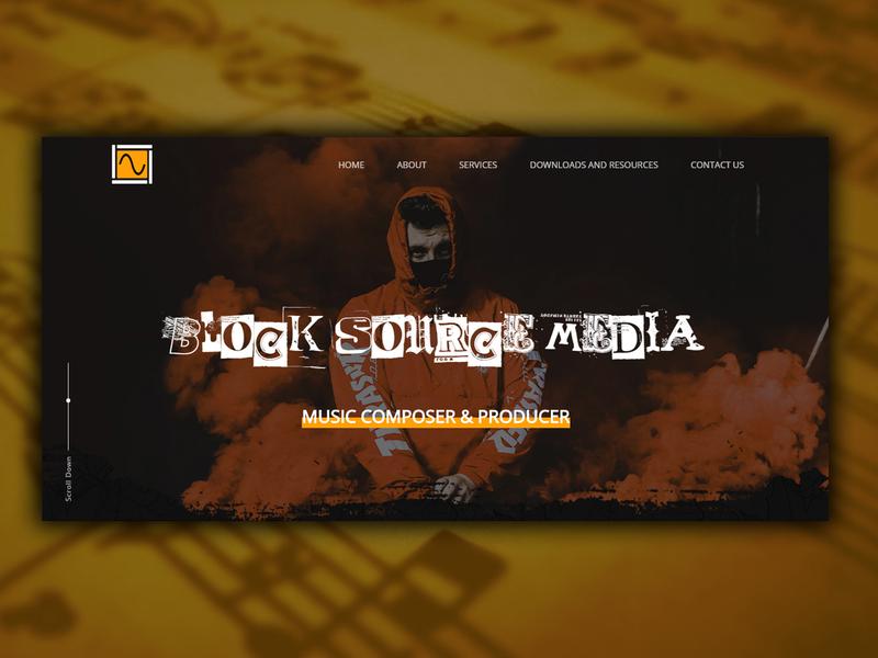 Music Website Landing page orange website flat design website design music design music page music landing page music website