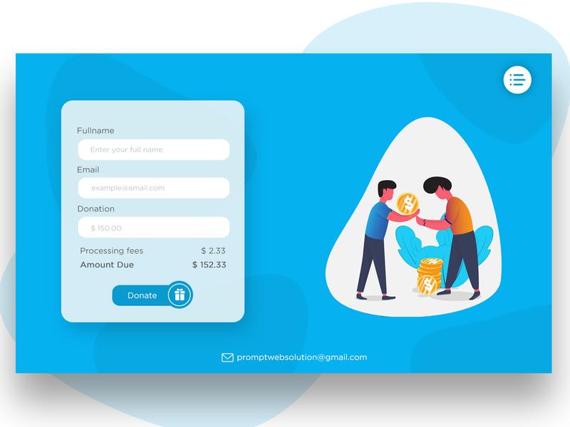 Donation Page Design illustraion blue website website design donation donation website flat design