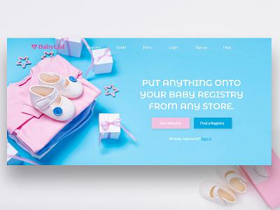 Baby care website Design website design flat layouts login screen blue website flat design