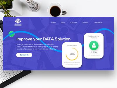 Data Solutions Templates landing page design custom admin panel landingpage blue website flat layouts website design flat design