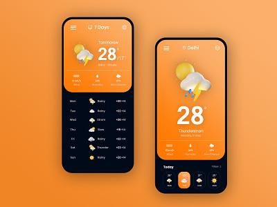 Weather Application design ui flat layouts flatdesign mobile desin weather forecast weather app mobile ui
