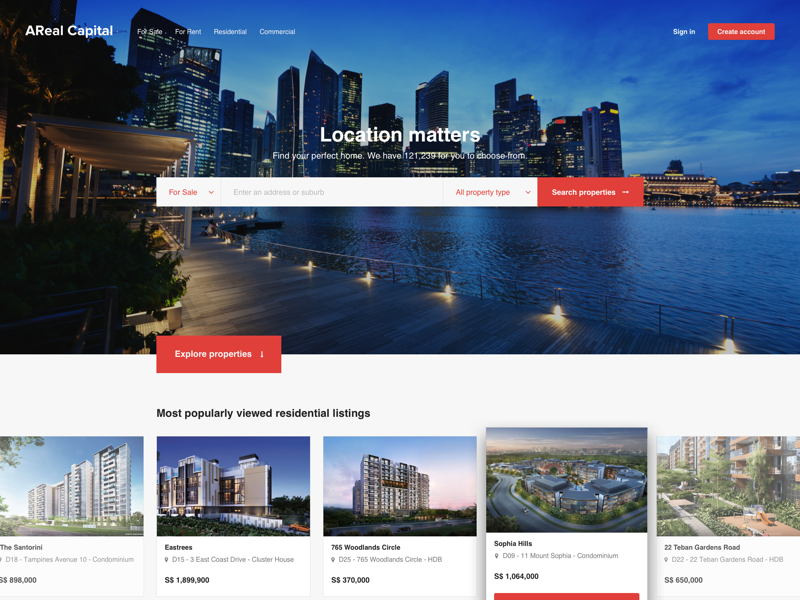 Property site landing page browsing real estate property site