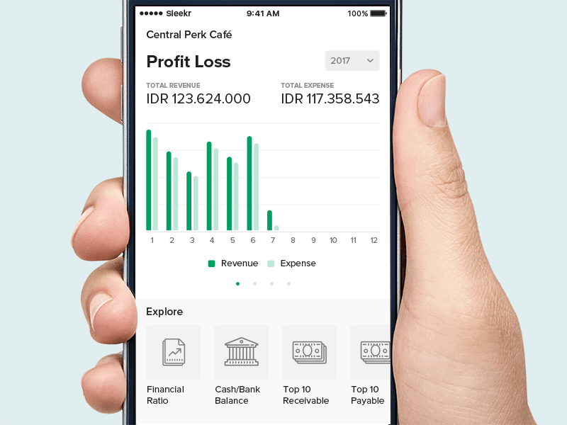 Dashboard for accounting app