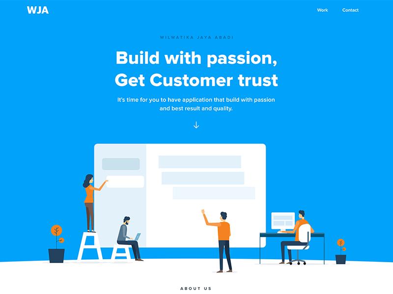 Landing page a software company