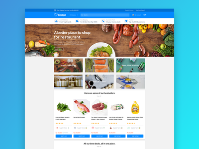Marketplace for restaurant user interface landing page mockup