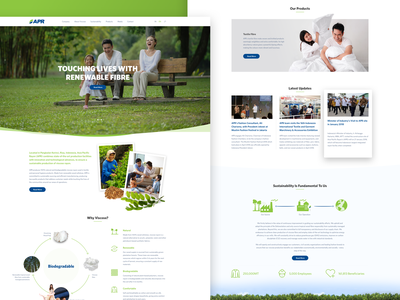 APR environment corporate user interface landing page mockup