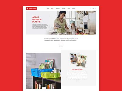Maspion Plastic corporate landing page user interface mockup