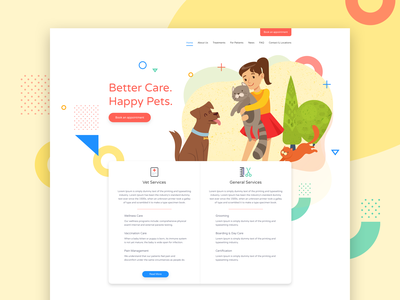Veterinary Clinic user interface mockup corporate landing page
