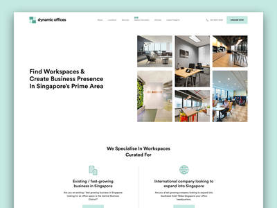 Rent Office Space mockup landing page user interface co working clean corporate