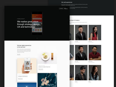Ambient agency user interface corporate landing page mockup