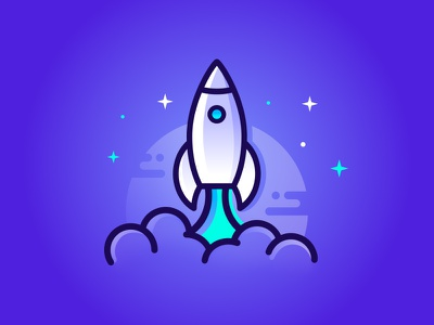 Take Off! stars clouds gradient vector icon line illustration launch space rocket