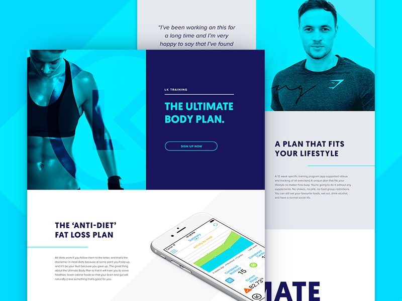 LK Website one page body plan landing page web design health nutrition training gym app fitness website