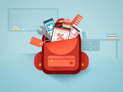Google Back-to-School small business social media digital garage digital marketing back to school rucksack flat vector google illustration school backpack
