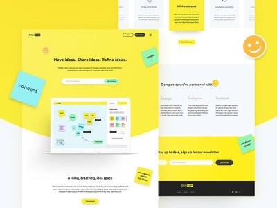 IdeaFlip Website web design post it website ux ui pricing ideas brainstorm emoji london startup ideaflip