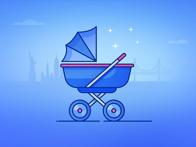 Discover - The cost of raising a child skyline usa baby child infographic stroller buggy line illustration chair push pram