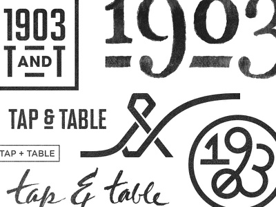 1903 Tap & Table - Scratch numerals calligraphy ampersand geometry grid handmade vintage industrial type logo
