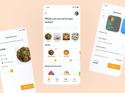 Food delivery app app design ui