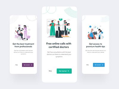 Onboarding screens for a medical app design ui minimal illustration web app