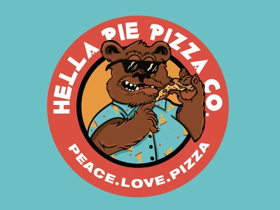 Hella Pie Pizza Co. - Munchie Bear dude rad gnarly 90s 80s cartoon mascot illustration procreate branding mark apparel badge brand food industry seal mascot logo mascot