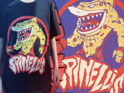 Spinelli's - JAWESOME procreate type treatment food street sharks spoof 90s food industry louisville