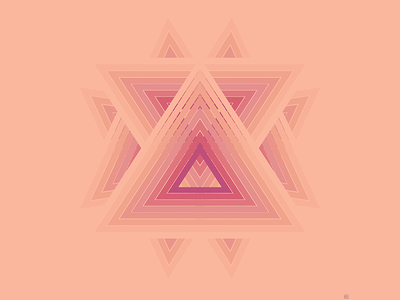 Triangular Nudist gradient hard lines triangle color theory pink