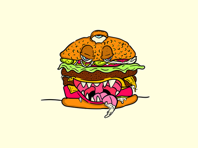 SCARRFFF!!! food cheese burger doodle moodle illustration cartoon character