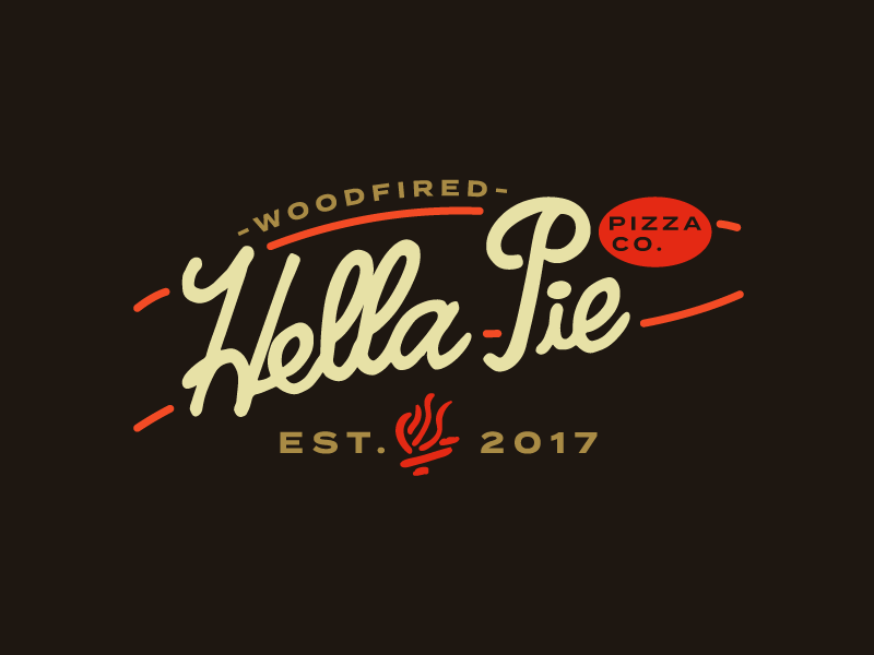 Hella Pie Pizza Co. food truck food fire lockup type logo branding mark logo woodfired pizza