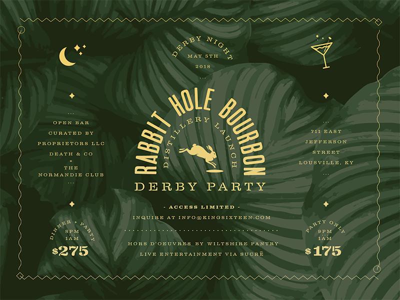 RABBIT HOLE BOURBON DERBY PARTY cocktail moon rabbit lockup kentucky louisville invite derby bourbon