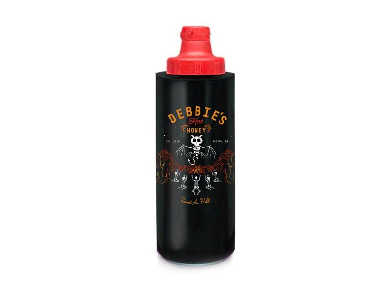 Debbie's Hot Honey hot sauce bottle flames skeleton packaging sauce bees devil honey