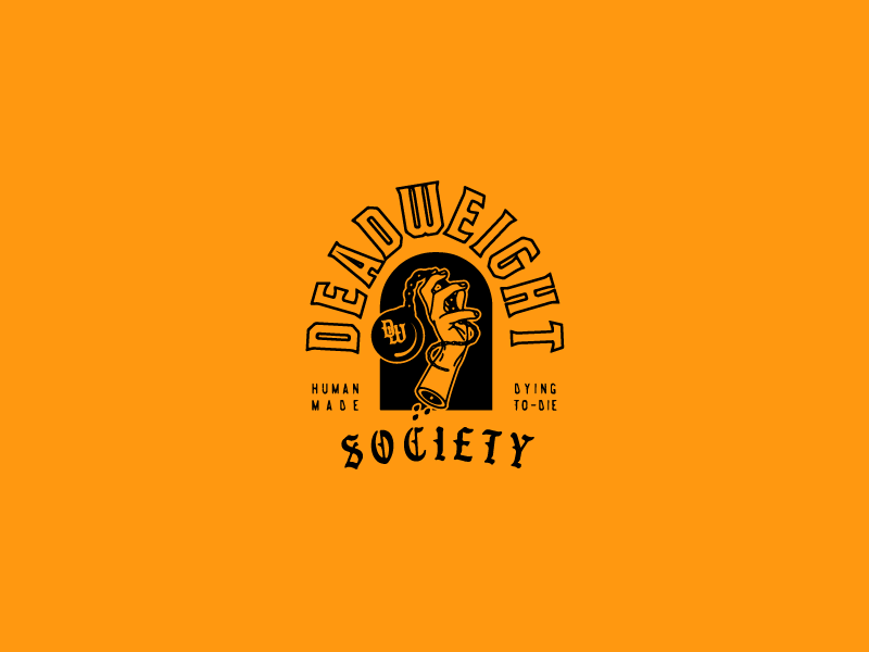 Deadweight Society illustration ball and chain hand logo type logo lockup branding