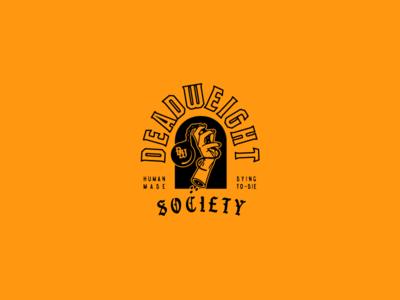 Deadweight Society illustration ball and chain hand logo type logo lockup branding