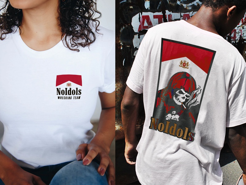 NO IDOLS : Death Smokes apparel parody vintage 90s tobacco reaper death