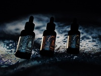 Arcane Black :  Full line of Beard Serum render 3d render illustration packaging branding label package design serum beard oil