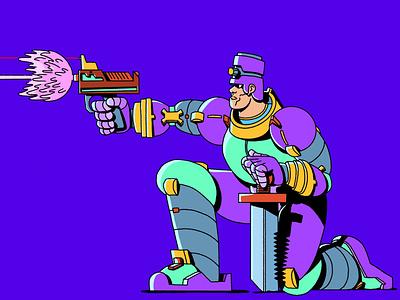 Sci Fi Shooty Sword Guy scifi procreate ipad illustrator illustration freelance design