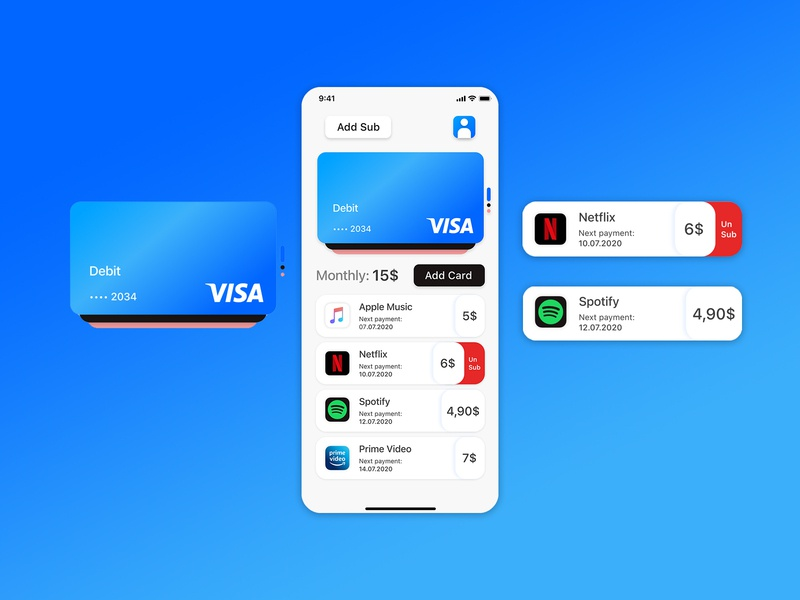 Sub Management payments payment card bank card bank app bank subscription subscribe management app userinterface minimal ui interface icon app