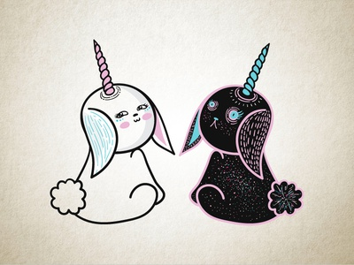 Bunnycorn Yin and Yang