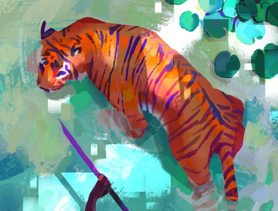 Tiger wildlife wild environment artwork design tiger digital art illustration