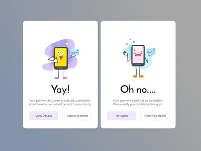 DailyUI 11: Flash Message payment success error buttons vector illustration ui daily ui ux design dailyuichallenge dailyui