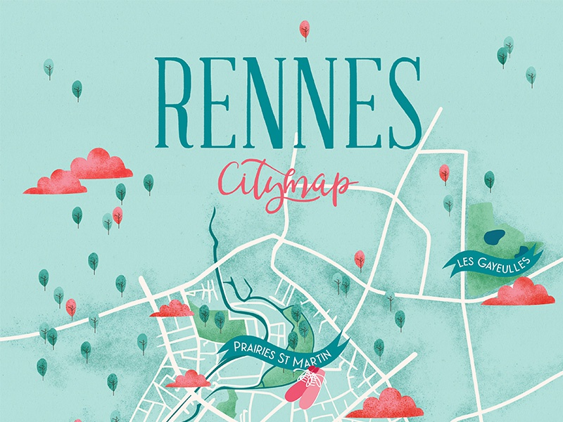 Map Of France Rennes.Rennes City Map By Florence Dribbble Dribbble